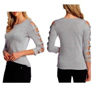 Cece Silver Bow Sleeve Sweater